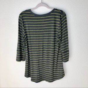 Pleione Tops - PLEIONE Gray and green striped knit top. Size XL